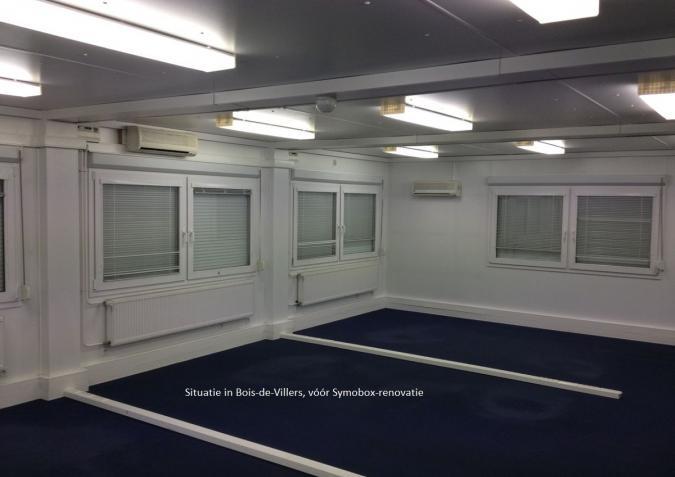 Modulair kantoor vóór verbouwingsfase: binnenaanzicht