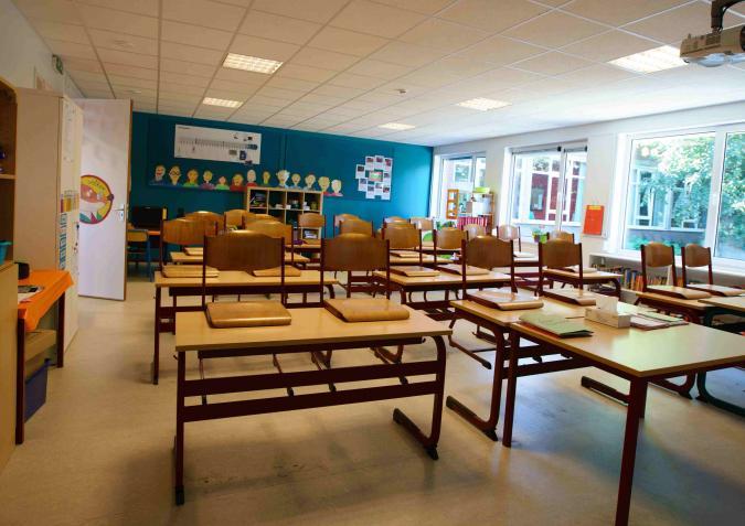 Klas in modulaire school Sint-Gabriël Boechout