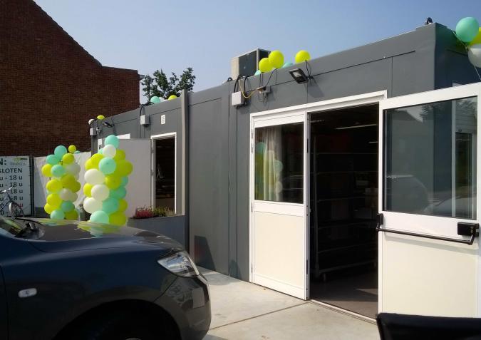 Het gebouw is nu een pop-up-bakkerij.